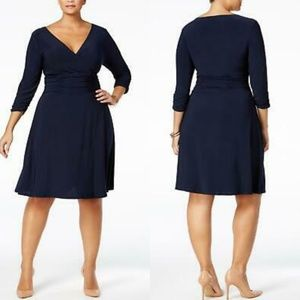 New York and Company Ruched V-neck Black Dress